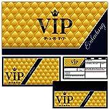 BREITENWERK 12er Set VIP Einladungskarten mit passenden Umschlägen - edle Premium Einladungen für VIP Party Event Kinder-Geburtstag & Erwachsene