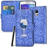 Slynmax Flip Case Handyhülle Tasche Schutzhülle für Samsung Galaxy S5/S5 Neo Handytasche Stand Glitzer Hülle Walle Klapphülle Brieftasche Karten Slot Karte Ständer Magnetverschluss Lederhülle,Blau