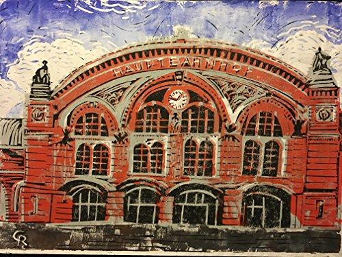 Hauptbahnhof Bremen - Linolschnitt, von Hand einzeln gedruckt, etwa 42x30cm, Limitiert auf 10...