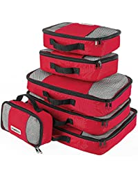 Savisto Packing Cubes, 6-Piece Best Value Suitcase Organiser, Compressible Luggage Cubes, Ideal for Holiday Baggage, Backpacking, Air Travel, Laundry & Home Storage - 6 Colour Options
