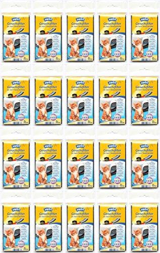 20 Päckchen Swirl Geruchsfilter für Katzentoiletten mit Aktivkohle 12 x 7 cm Aktivkohlefilter