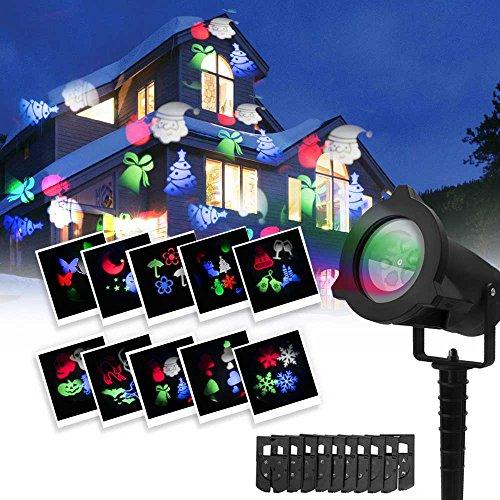 Luces de Proyector para exteriores, 10 Diapositivas, 4 LED Luces, Servicio + Garantía, IP44 Impermeable, Fácil de Usar, Ahorro de Energía, Color Negro