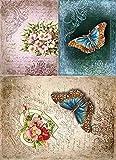 Reispapier A4 - Blue morpho. Motiv-Strohseide, Strohseidenpapier, Decoupage Papier