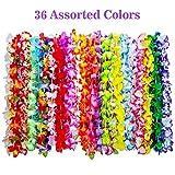 Shappy 36 Pezzi Tropicale Ghirlande Hawaiano Fiori Leis Collane per Spiaggia Festa Supplies Decorazione Favori Ornamenti, 35 Colori