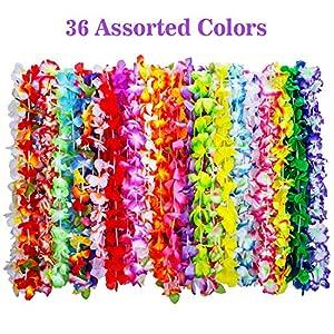 Shappy 36 Piezas Guirnalda Hawaiana de Flores Tropical Collar de Flores de Luau para Materiales de Fiesta Temática de Playa Decoraciones Favores Adornos, 35 Colores