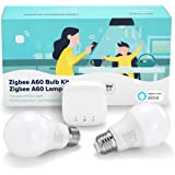Linkind Smart Zigbee E27 Kit de bombilla LED, 9 W para reemplazar 60 W incandescente, 2 luces de tornillo E27 regulables y si