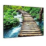 Bilderdepot24 Kunstdruck - Brücke über einen Fluß - Bild auf Leinwand - 60x50 cm einteilig - Leinwandbilder - Bilder als Leinwanddruck - Wandbild