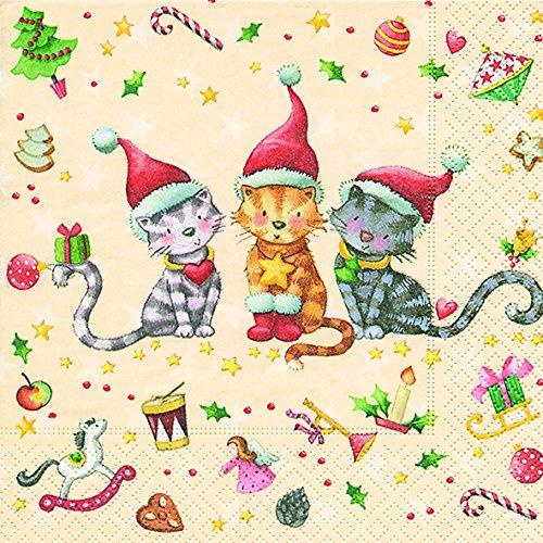 almuerzo-servilletas-servilleta-33x-33cm-all-i-want-gato-navidad-invierno-nieve-animales-bosque-mune
