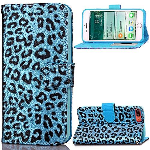 Luxury Leather Leopard Print Hard Case Hülle mit Kartenfächer und Bargeldfächer für iPhone 7 Plus Blau