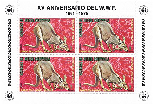 world-wildlife-fund-15th-anniversary-stamp-sheet-for-collectors-kangaroo-block-of-four-equatorial-gu