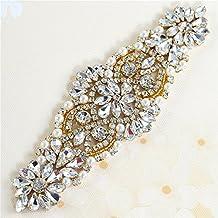 Cristales y Rhinestone de Hierro-en Applique con las Perlas para la boda Correas Nupciales