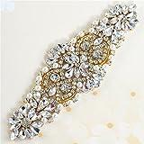 Cristales y Rhinestone de Hierro-en Applique con las Perlas para la boda Correas Nupciales Headpieces Ligas