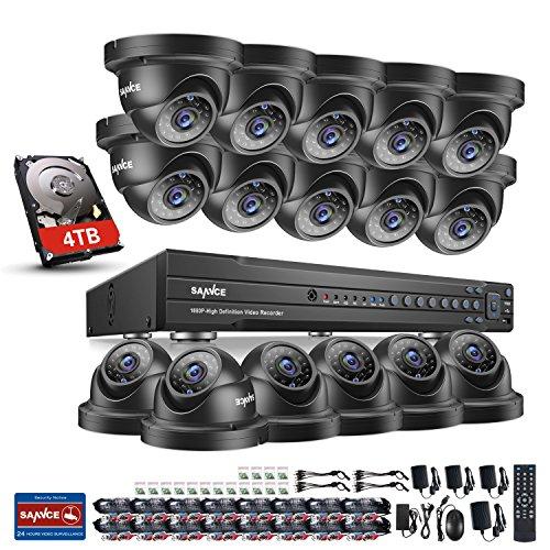 SANNCE 1080P 16CH Überwachungskamera Set,5 in 1 Videoüberwachungs System DVR Rekorder + 16x 1080P IP66 Sicherheits Kamera mit 4TB Festplatte,Nachtsicht bis zu 30 Meter,Fernbedienung durch Android/iOS