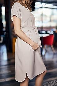 Hamile ve Emzirme Elbisesi: Mamma Lattes Hamile ve Emzirme Üst Kalite Şık Ofis Elbisesi Esnek Kırışmayan Kumaş Bej Siyah Renk