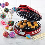 Nostalgia Electrics RCPM900 - Máquina para Hacer Cakes Pops+25 Palillos de Bambú+Inyector de Aceite,750W,Color Rojo Metálico