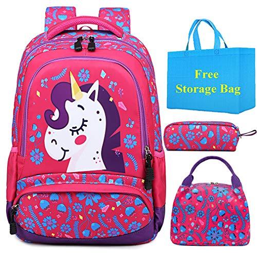 Schulranzen Mädchen Schulrucksack Taschen Schultasche Kinder Rucksack mit Federmäppchen Lunchpaket für Schule und Freizeit (RoseRot)