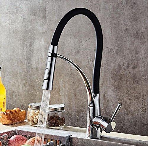 Preisvergleich Produktbild Küchenarmatur Schwarz Wasserhahn Messing Armatur Mit Schlauch Für Küche Waschbecken Waschtisch Kreative Amerikanische Küchenarmatur Heißes Und Kaltes Wasser Gemüse Hahn Rotation Dual-Head-Dusche Wasser