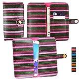 emartbuy® Rose Rayures Vintage Étui Coque Case Cover en Cuir PU (Size 5XL) avec Fermeture Magnétique Bouton Adapté pour aPhone E6 5 inch Smartphone