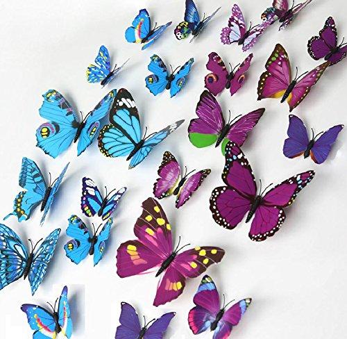 elecmotive 72PCS 6Packungen Wunderschöne 3D Schmetterlinge Wand-Aufkleber Abnehmbare DIY Home Dekoration Wand Art Decor Aufkleber & Wandmalereien für Babys Schlafzimmer TV Hintergrund Wohnzimmer 12 Blue+12 Purple Amp-tv