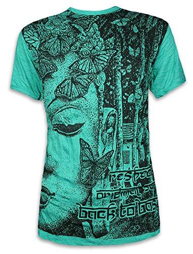 Sure Camiseta Hombre Butterfly Wisdom Talla M L XL Mariposa Espíritu Natural Budismo Yoga Asia (M, Azul)