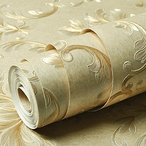Continental goffrato verde non-tessuto carta da parati 3D stereo carving Damasco camera da letto soggiorno carta da parati , kaki - Anatra Carving