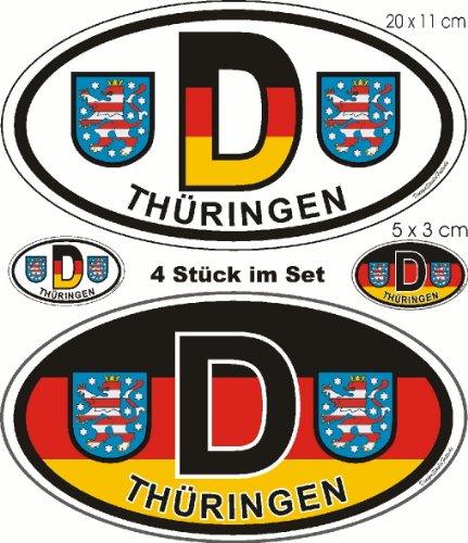 Aufkleber Bundesland Thüringen, D Länderaufkleber Nationalitätenkennzeichen oval