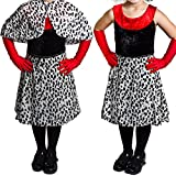 Déguisement de la femme cruelle envers les dalmatiens avec une cape couvre épaule + une jupe + une paire de gants pour enfant. Ideal pour les fêtes de fin d'école ou pour Halloween. ( XLarge - 12/14ans )