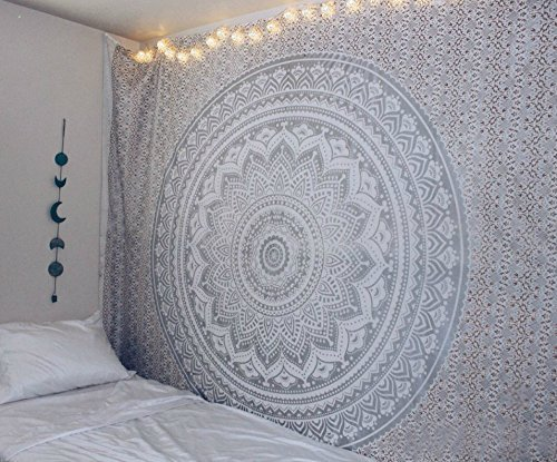 Aakriti Gallery Tapestry Queen Ombre Gift Hippie Tapestries Mandala Bohemian Psychedelic Intricate Indian Bedspread 92x82 Inches (Grey)