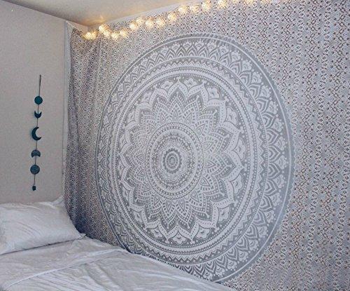 Aakriti Gallery Wandteppich in Queen-Größe,, ombriert, Hippie-Wandteppich, mit psychodelischem. kompliziertem Mandala-/Boho-Muster; indische Tagesdecke, 234 x 208 cm grau