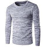 COCO clothing Herbst-Winter Rundkragen Jersey Pullover Herren Lange Ärmel Sweatshirt Männer Slim Fit Strickpullover Freizeit Pulli Tops Bluse Dünner Gris Sweater (XL)