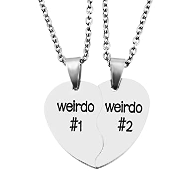 Mjartoria split heart weirdo 1 2 best friends pendant friendship mjartoria split heart weirdo 1 2 best friends pendant friendship necklace set of 2 weirdo amazon jewellery aloadofball Choice Image