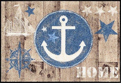 Salonloewe Fußmatte waschbar Welcome Home Anchor Wood 50x75 cm SLD1294-050x075