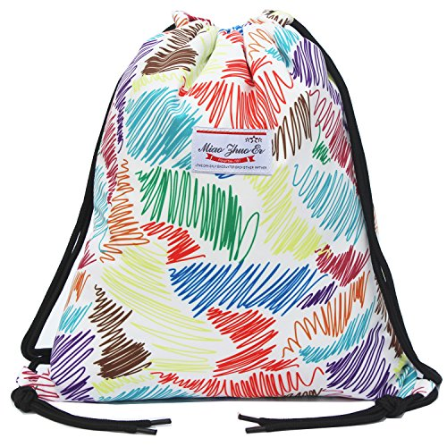 e18c0d14b6bf Alpaca Go Drawstring Bag Water Resistant Floral Leaf Lightweight Gym  Sackpack for Hiking Yoga Gym Swimming Travel Beach (Q - Colorful)