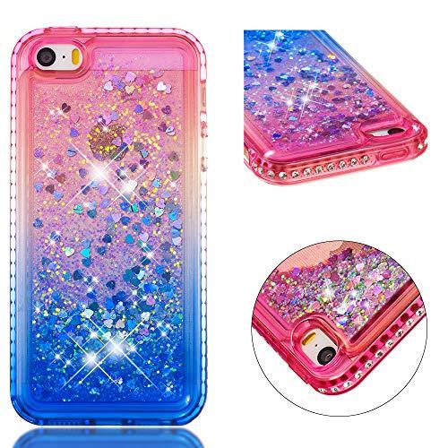 Cozy hut custodia iphone se/5/5s glitter cover,brillantini diamond morbido di lusso silicone sabbie mobili bumper case per custodie iphone se/5/5s - gradiente blu rosa