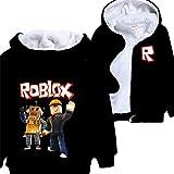 Roblox Chaqueta Niños Ropa Exterior Cardigan con Cremallera Moda Niñas Sudaderas Cómodo Popular Color Impresión Frío Invierno