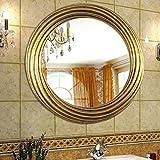 LEI ZE JUN UK Mirror- Einfache Moderne chinesische ist kreisförmigen dreidimensionalen Rahmen Retro Bad Spiegel hängespiegel Wandspiegel (Farbe : Gold)