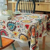 Superwinger vintage Dentelle Soleil Fleur Nappe, Lin brodée rectangle lavable Dinner Table de pique-nique, chiffon de nettoyage assortis Taille, multicolore, 140X200(55X79 Inch)
