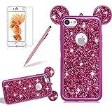 Silikon Glitzer Hülle für iPhone 5S, Girlyard Plating Weiche TPU Strass Maus Ohren Bling Backcover, 3D Kreativ Design Schutzhülle Flexibel Rubber Etui und Ultra Slim Case für iPhone 5 5S SE -- Rose Rot