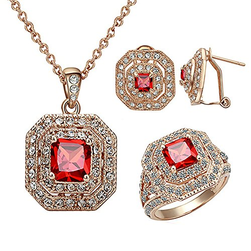Yoursfs 18K Rose Gold Plated Luxus Quadrat legt roten Rubin Modeschmuck für Frauen Trauringe Halskette Ohrringe Set Bräute Bling Cocktail Schmuck Geschenk