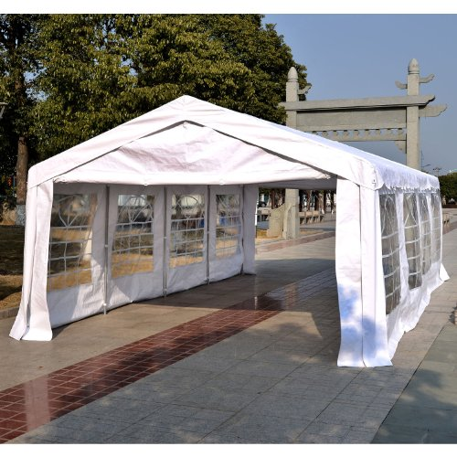 Outsunny Garden Gazebo Marquee Party Tent Wedding Portable Garage Carport shelter Car Canopy Outdoor Heavy Duty Steel Frame Waterproof Rot Resistant (8m x 4m) Test