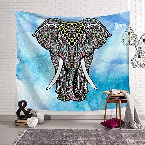 HmDco Tapiz de Pared Elefantes Manta Pared Colgante Decoración Dormitorio Tela,Azul,150*130 cm.