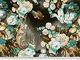 ab 1m: Markanter Viskose Jersey, große Blumen, türkis-braun, 150cm breit