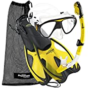 Phantom Aquatics PAQSMFS YL-SM, Phantom Aquatics Adult Mask Fin Snorkel Set with Mesh Bag, Yellow, Small/Medium/Size 4.5 to 8.5 (Sports & Outdoors)