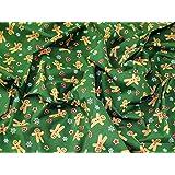 Pain d'épice de Noël Man en polycoton imprimé Vert Tissu de robe–au mètre