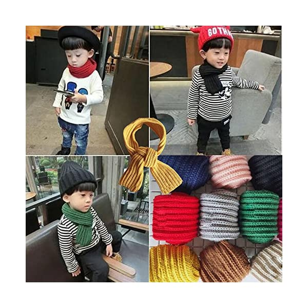 KINDOYO Bufanda de los niños, precioso otoño invierno chicos niñas bebé niño bufanda sólida caliente bufandas de punto… 3