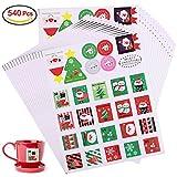 560 Sortierte Weihnachts Aufkleber, Konsait 20 Blätter weihnachten Geschenkaufkleber Sticker Etiketten mit 28 Mustern für Karte Making, Umschläge, Kinder Scrapbooking, Geschenktüten Papiertüten