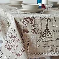 sukisuki Vintage Torre Eiffel Carta impresión lino y algodón Tejido mantel funda para mesa, algodón, lino, 140cm x 180cm