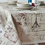 DKEyinx Vintage Eiffelturm Brief Print Baumwollleinenstoff Tischdecke Tischdecke, Baumwollleinen 100cm x 140cm