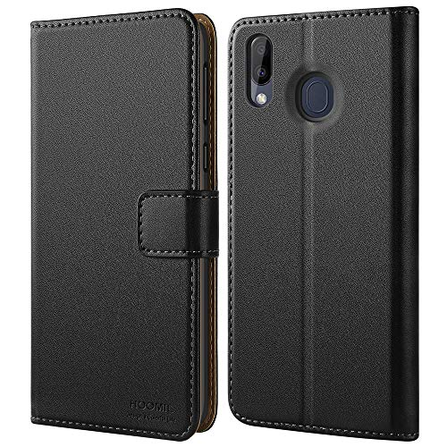 HOOMIL Handyhülle für Samsung Galaxy M20 Hülle, Premium PU Leder Flip Schutzhülle für Samsung Galaxy M20 Smartphone Hülle, Schwarz