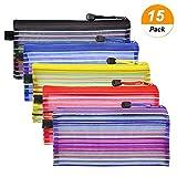 Meetory 15pezzi colorato piccola chiusura tasche multiuso astuccio da viaggio cosmetici borsa organizer per raccogliere ufficio forniture e trucco 5color
